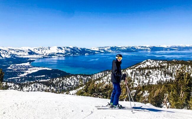 Calvin learning to ski at Heavenly Ski Resort in Lake Tahoe